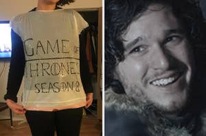 """Person wearing a garbage bag with """"game of thrones Season 8"""" written on it, and Jon Snow laughing"""