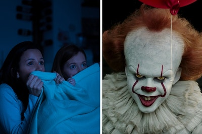 On the left, two people covering their faces with a blanket as they watch a movie in the dark, and on the right, Pennywise from It