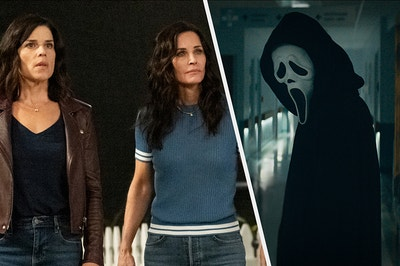 Sydney and Gayle side by side with Ghostface in Scream 5
