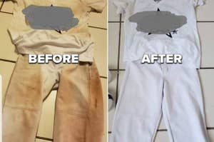 L: a white uniform stained dark brown R: the same uniform looking bright white and clean again