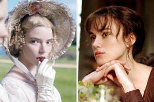 Emma Woodhouse eating a strawberry; Elizabeth Bennet daydreaming