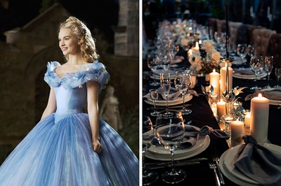 On the left, Lily James wearing a gown as Cinderella, and on the right, a dark, long table with place settings, wine glasses, and lit candles on top