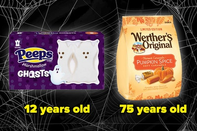 Peeps ghosts and werther's original pumpkin spice caramels, labeled 12 years old and 75 years old respectively