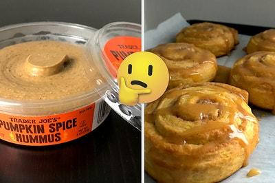 Pumpkin Spice hummus, pumpkin spice pumpkin rolls, and a thinking emoji