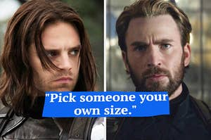 A close up of Bucky Barnes with his head turned to the side and a close up of Steve Rogers with a full beard