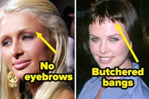 no eyebrows and butchered bangs