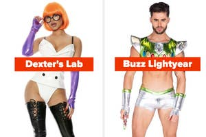 A woman dressed as a sexy Dexter from Dexter's Lab and a man dressed as a sexy Buzz Lightyear