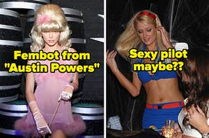 """Kendall Jenner with text, """"Fembot from Austin Powers"""" and Paris Hilton with text, """"Sexy pilot maybe"""""""