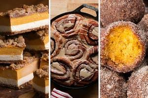 Pumpkin bars, pumpkin cinnamon rolls, and pumpkin donut holes