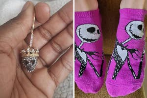 Reviewer holding earring on the left / Reviewer wearing socks on the right