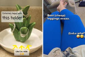 Left is a jewelry catchall dish shaped like an aloe plant and right is a reviewer wearing blue leggings