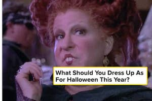 """Winifred Sanderson thinking and the text """"what should you dress up as for halloween this year?"""""""