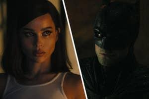 Zoe Kravitz as Catwoman side by side with Robert Pattinson as Batman