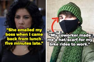"""Rosa Diaz from """"Brooklyn Nine-Nine"""" annoyed; someone wearing a hat/scarf a fellow coworker knitted them"""