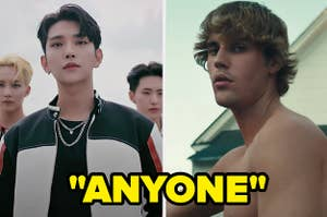 """The k-pop group Seventeen is labeled, """"Anyone"""" with Justin Bieber on the right"""