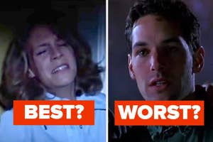 Jamie Lee Curtis as Laure Strode and Paul Rudd as Tommy Doyle