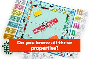 """A Monopoly board is spread out with a label that reads, """"Do you know all these properties?"""""""