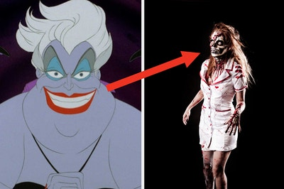Ursula is on the left with an arrow pointing at a nurse costume on the right