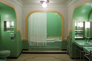 A monochromatic and symmentrial bathroom from The Shining