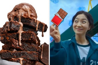 Chocolate ice cream is on top of brownies with a player holding a chocolate bar on the right