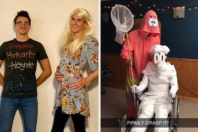 Two guys dressed as a mom and her baby names list, and a couple as Patrick and Squidward from SpongeBob
