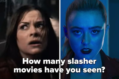 """Two women in a scary film are shown with a label that reads, """"How many slasher movies have you seen?"""""""