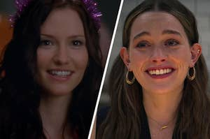 """Lexie Grey wears a sparkly crown and a close up of a smiling Love Quinn from """"You"""""""