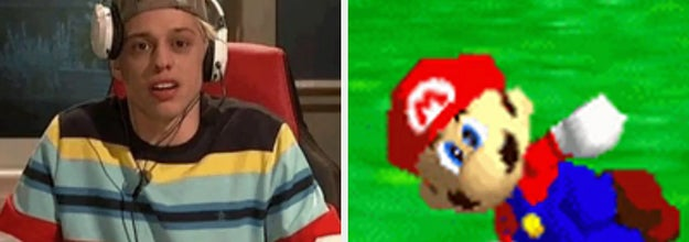 Pete Davidson playing video games and Mario from Mario 64 breakdancinc