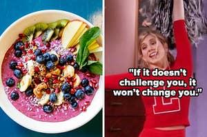 An overhead shot of a bowl of fruit and yogurt and Rachel Green wears a cheerleading uniform