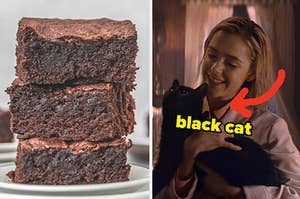 On the left, a stack of brownies, and on the right, Sabrina from Chilling Adventures os Sabrina holding Salem the cat with an arrow pointing to him and black cat typed next to him