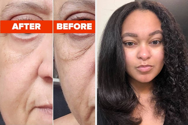 L: reviewer before and after using eye cream showing the product tightened their under-eye area and lightened their dark circles R: reviewer with half of their hair straightened using a hot air brush