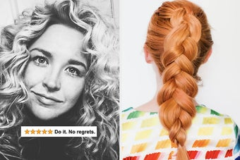 """A reviewer with curly hair saying """"do it no regrets"""" / a thick braid"""