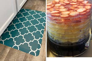 Photo of a linen apron on the left / Reviewer photo of a food dehydrator filled with fruit on the right