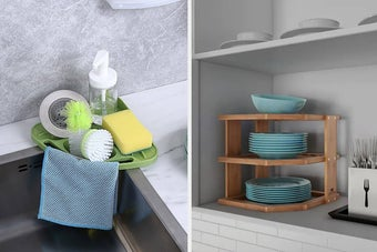 corner kitchen sink organizer, three tier organizer for plates fitting in the corner of a kitchen cabinet
