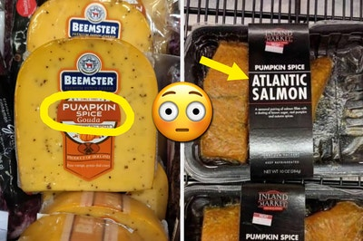 Pumpkin spice gouda and pumpkin spice Atlantic salmon, with a shocked emoji