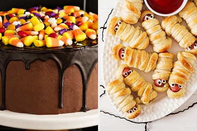 candy corn cake and spooky pigs in a blankety
