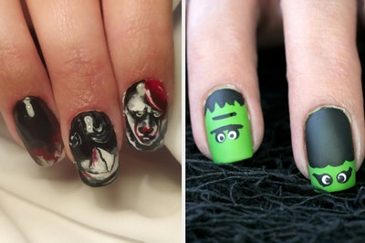 Two people are modeling their Halloween manicures