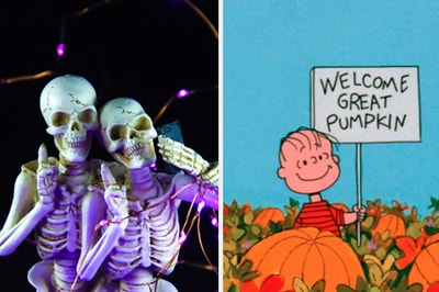 Two skeletons pose on the left with Charlie Brown on the right holding a sign