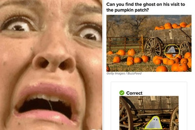 Maya Rudolph looking terrified and a sample question asking to find the ghost in the pumpkin patch