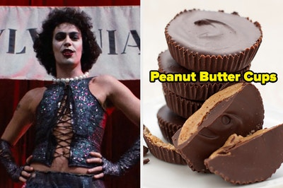 On the left, Dr. Frank-N-Furter from The Rocky Horror Picture Show, and on the right, some peanut butter cups