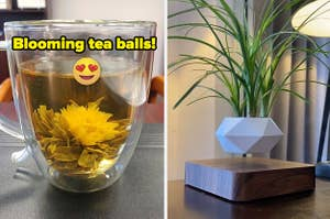 """L: a reviewer image of a blooming tea ball inside a clear mug and text reading """"blooming tea balls"""", R: a reviewer photo of a white planter levitating over a wooden base"""