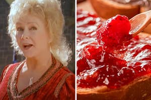 Aggie is on the left with jam spread on a slice of bread on the right
