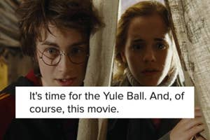 Harry Potter and Hermione Granger stand next to each other with a curtain between them