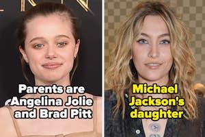 "Shiloh Jolie-Pitt with caption ""Parents are Angelina Jolie and Brad Pitt and Paris Jackson with caption ""Michael Jackson's daughter"""