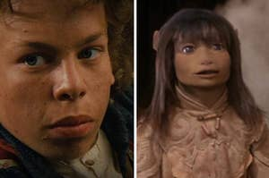 Side by side stills from Willow and the Dark Crystal