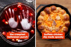 Halloween punch bowl with hand-shaped ice cubes; buffalo chicken dip shaped like a jack-o-lantern