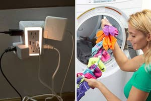 on left, six-plug outlet with night light and various chargers in it. on right, model holds sock bungee with colorful socks before putting them in laundry