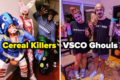 """Bloody cereal mascots labeled """"cereal killers"""" and VSCO girls with spooky makeup labeled """"VSCO ghouls"""""""