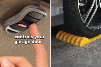 garage door opener keychain, tire stop on a garage floor to aid with parking