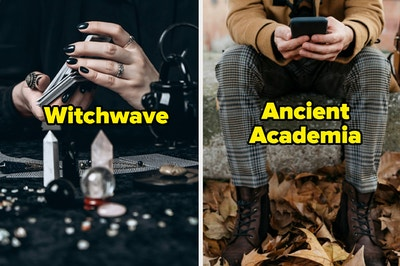 """Crystal balls, crystals, and tarot cards labeled """"witchwave"""" and someone in plaid pants, combat boots, and tan jacket labeled """"ancient academia"""""""